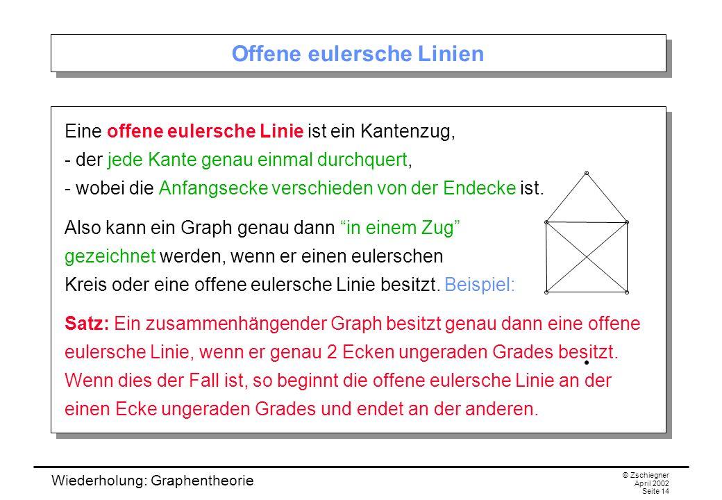 Wiederholung: Graphentheorie © Zschiegner April 2002 Seite 14 Offene eulersche Linien Eine offene eulersche Linie ist ein Kantenzug, - der jede Kante