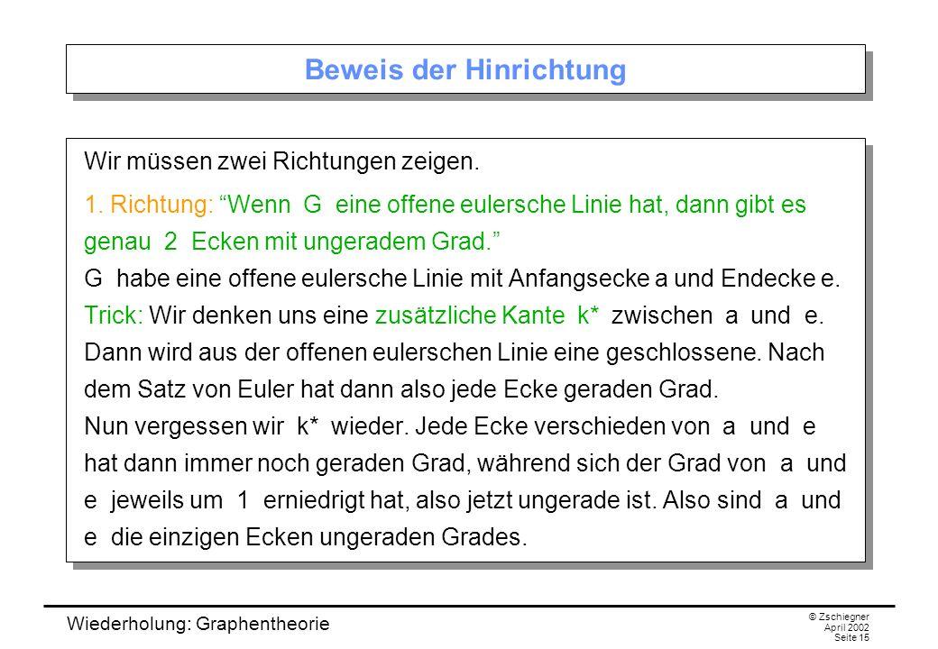 Wiederholung: Graphentheorie © Zschiegner April 2002 Seite 15 Beweis der Hinrichtung Wir müssen zwei Richtungen zeigen. 1. Richtung: Wenn G eine offen