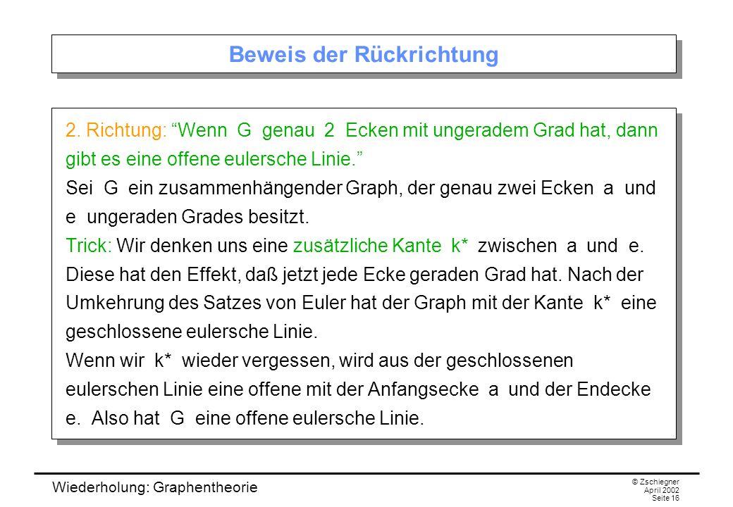 Wiederholung: Graphentheorie © Zschiegner April 2002 Seite 16 Beweis der Rückrichtung 2. Richtung: Wenn G genau 2 Ecken mit ungeradem Grad hat, dann g