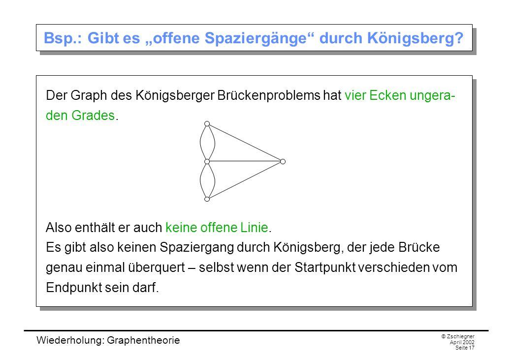 Wiederholung: Graphentheorie © Zschiegner April 2002 Seite 17 Bsp.: Gibt es offene Spaziergänge durch Königsberg? Der Graph des Königsberger Brückenpr