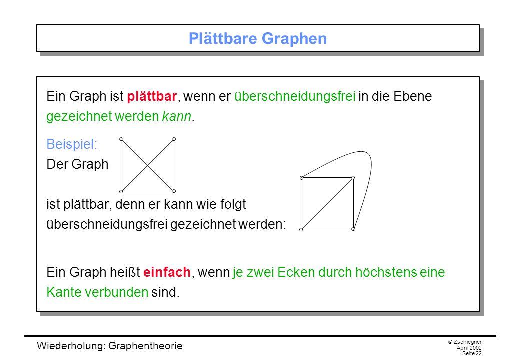 Wiederholung: Graphentheorie © Zschiegner April 2002 Seite 22 Plättbare Graphen Ein Graph ist plättbar, wenn er überschneidungsfrei in die Ebene gezei
