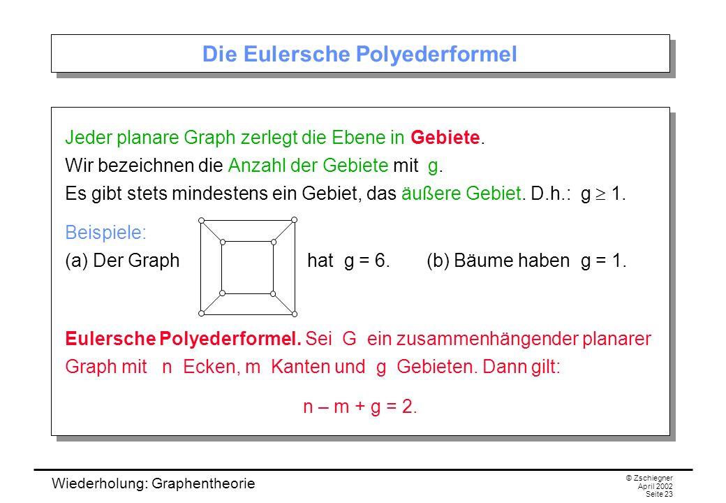 Wiederholung: Graphentheorie © Zschiegner April 2002 Seite 23 Die Eulersche Polyederformel Jeder planare Graph zerlegt die Ebene in Gebiete. Wir bezei
