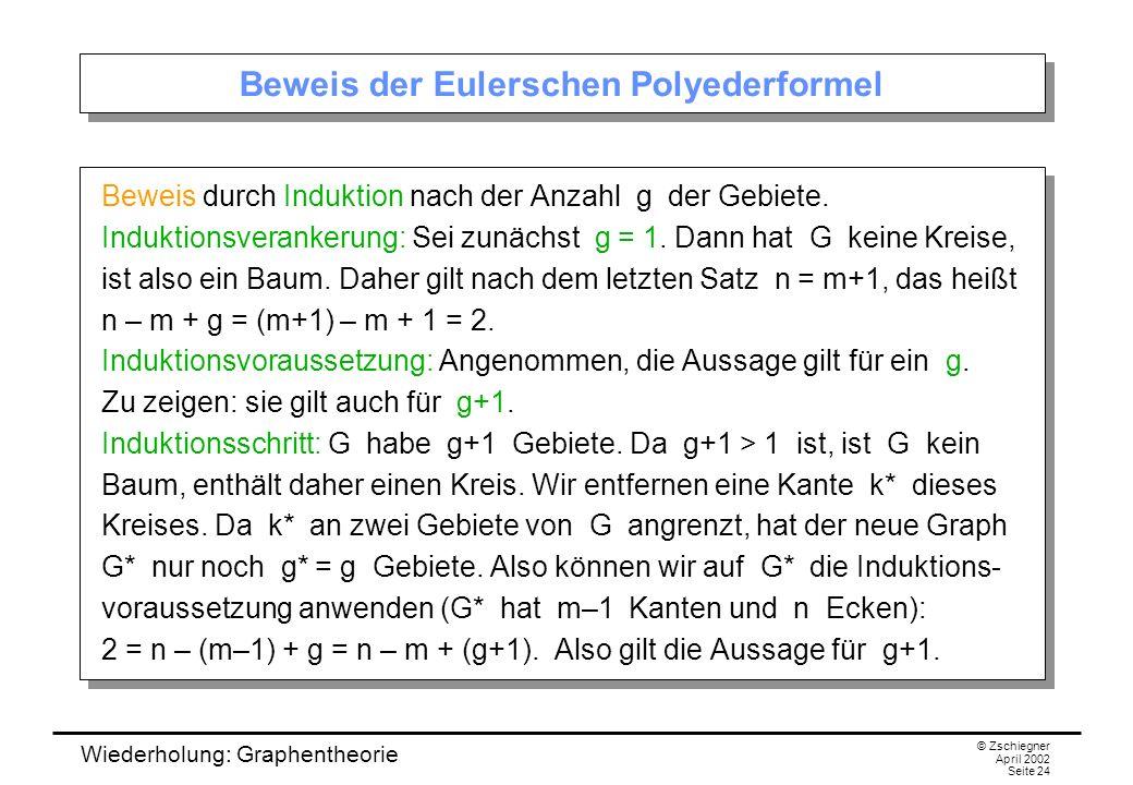 Wiederholung: Graphentheorie © Zschiegner April 2002 Seite 24 Beweis der Eulerschen Polyederformel Beweis durch Induktion nach der Anzahl g der Gebiet