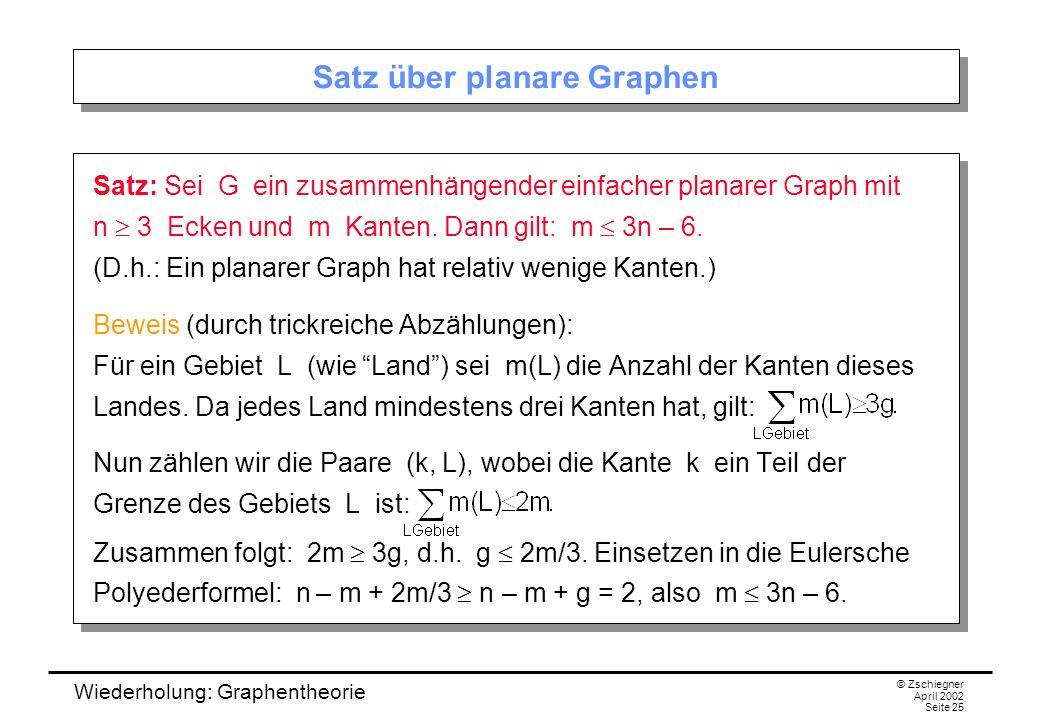 Wiederholung: Graphentheorie © Zschiegner April 2002 Seite 25 Satz über planare Graphen Satz: Sei G ein zusammenhängender einfacher planarer Graph mit