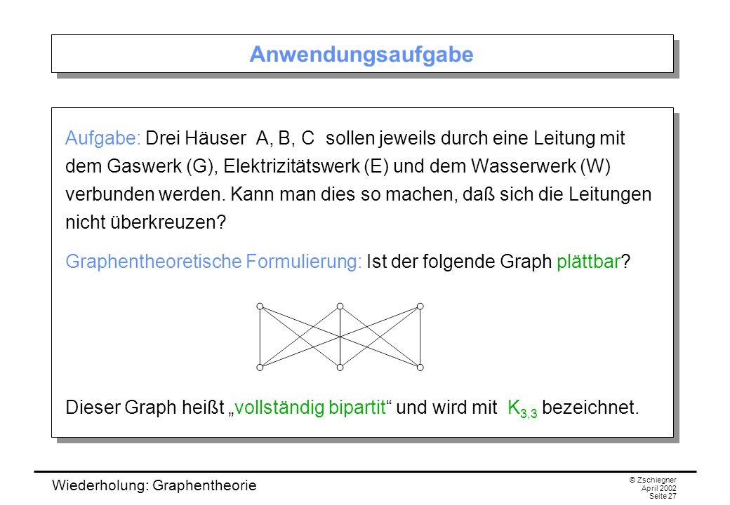 Wiederholung: Graphentheorie © Zschiegner April 2002 Seite 27 Anwendungsaufgabe Aufgabe: Drei Häuser A, B, C sollen jeweils durch eine Leitung mit dem