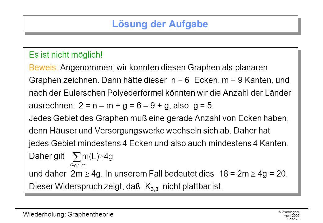 Wiederholung: Graphentheorie © Zschiegner April 2002 Seite 28 Lösung der Aufgabe Es ist nicht möglich! Beweis: Angenommen, wir könnten diesen Graphen