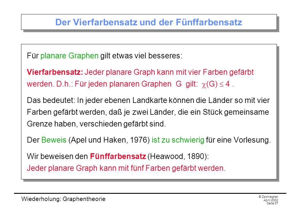Wiederholung: Graphentheorie © Zschiegner April 2002 Seite 37 Der Vierfarbensatz und der Fünffarbensatz Für planare Graphen gilt etwas viel besseres: