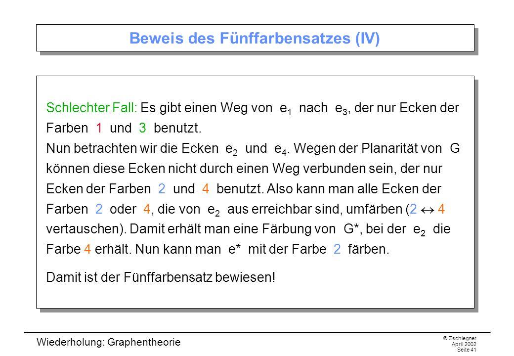 Wiederholung: Graphentheorie © Zschiegner April 2002 Seite 41 Beweis des Fünffarbensatzes (IV) Schlechter Fall: Es gibt einen Weg von e 1 nach e 3, de