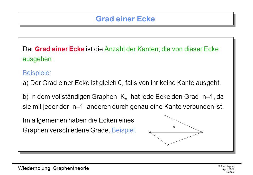 Wiederholung: Graphentheorie © Zschiegner April 2002 Seite 37 Der Vierfarbensatz und der Fünffarbensatz Für planare Graphen gilt etwas viel besseres: Vierfarbensatz: Jeder planare Graph kann mit vier Farben gefärbt werden.