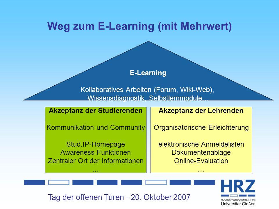 Tag der offenen Türen - 20. Oktober 2007 Weg zum E-Learning (mit Mehrwert) Akzeptanz der Studierenden Kommunikation und Community Stud.IP-Homepage Awa