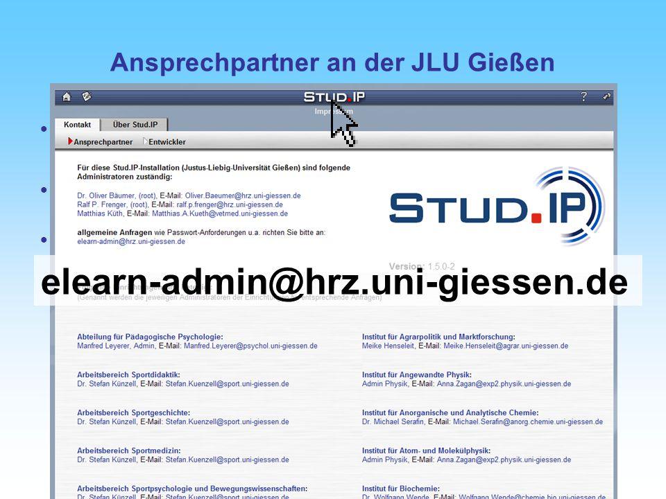 Tag der offenen Türen - 20. Oktober 2007 Ansprechpartner an der JLU Gießen Dezentrale Ansprechpartner: Admins der Fachbereiche siehe Stud.IP –> Kontak