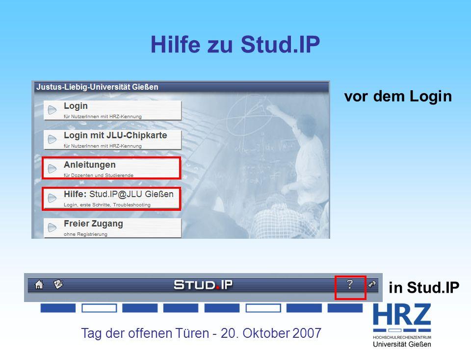 Tag der offenen Türen - 20. Oktober 2007 Hilfe zu Stud.IP vor dem Login in Stud.IP