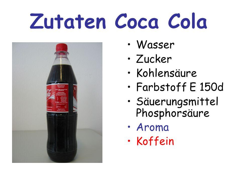 Zutaten Coca Cola Wasser Zucker Kohlensäure Farbstoff E 150d Säuerungsmittel Phosphorsäure Aroma Koffein