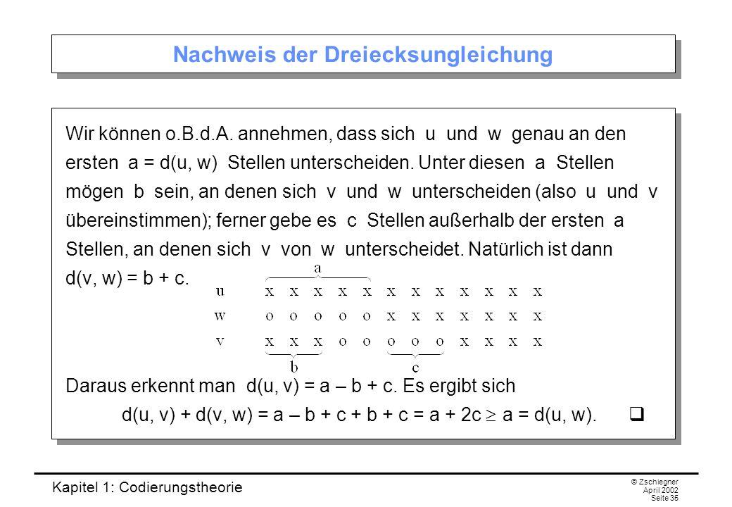 Kapitel 1: Codierungstheorie © Zschiegner April 2002 Seite 35 Nachweis der Dreiecksungleichung Wir können o.B.d.A. annehmen, dass sich u und w genau a