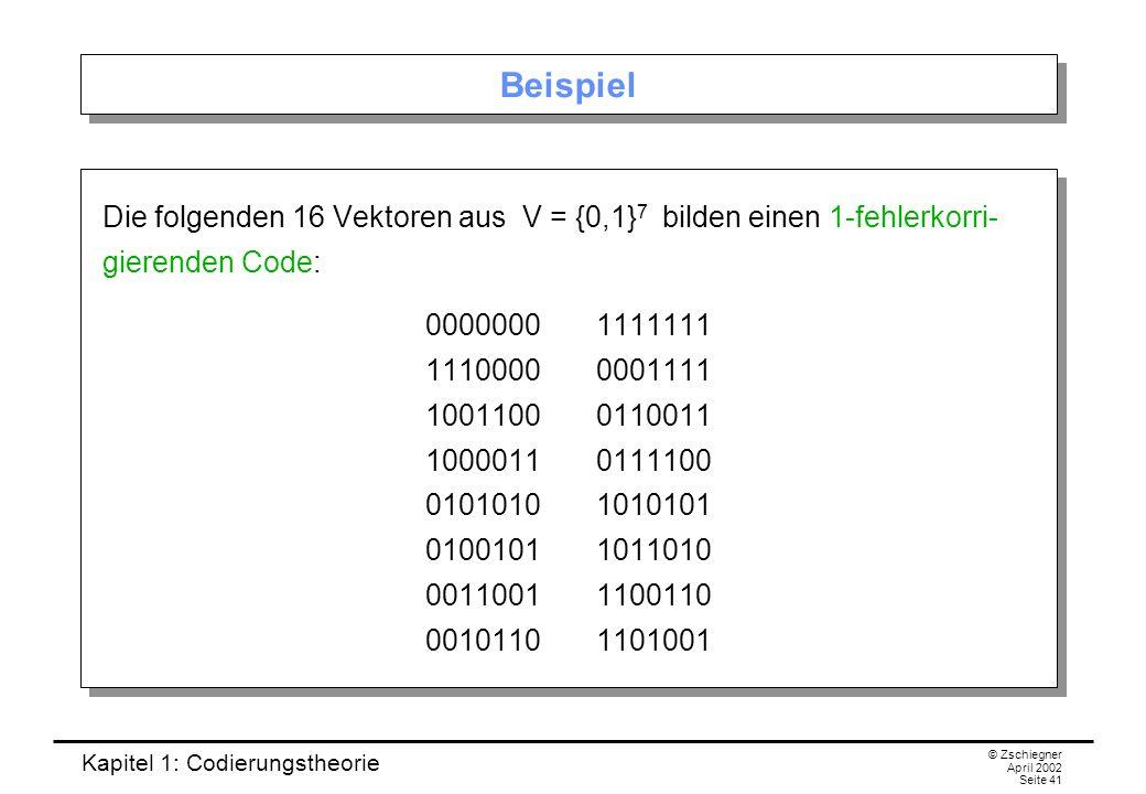 Kapitel 1: Codierungstheorie © Zschiegner April 2002 Seite 41 Beispiel Die folgenden 16 Vektoren aus V = {0,1} 7 bilden einen 1-fehlerkorri- gierenden