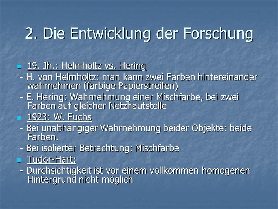 2. Die Entwicklung der Forschung 19. Jh.: Helmholtz vs. Hering 19. Jh.: Helmholtz vs. Hering - H. von Helmholtz: man kann zwei Farben hintereinander w