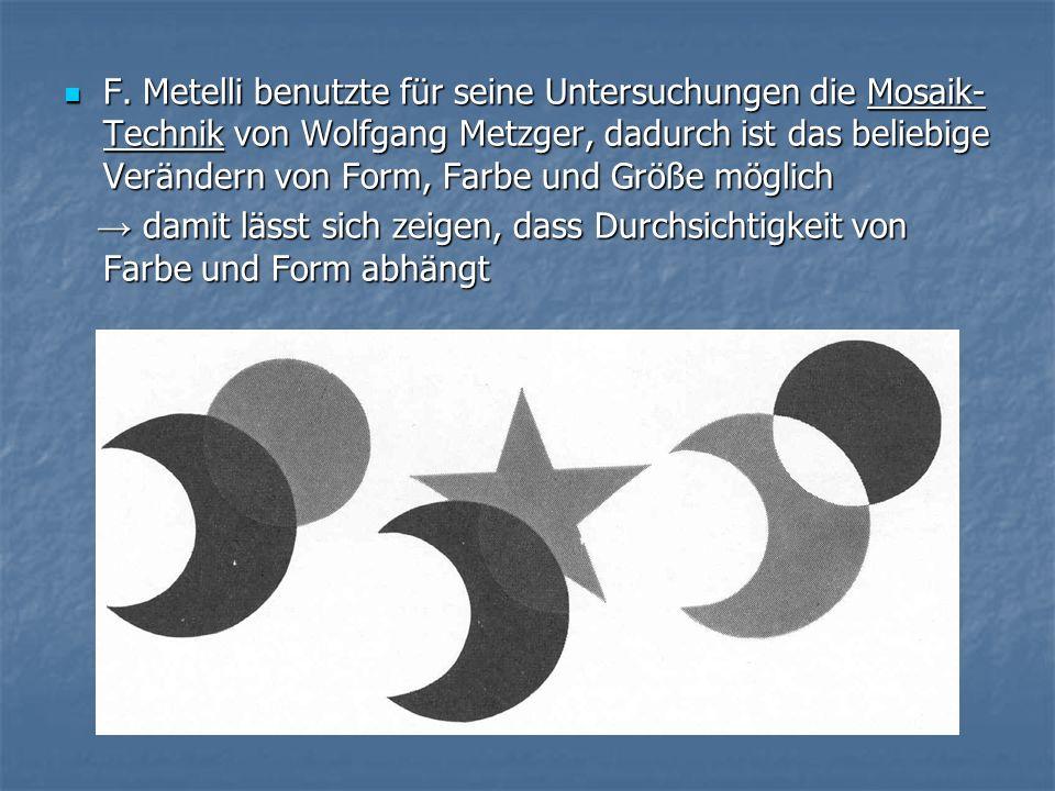 F. Metelli benutzte für seine Untersuchungen die Mosaik- Technik von Wolfgang Metzger, dadurch ist das beliebige Verändern von Form, Farbe und Größe m