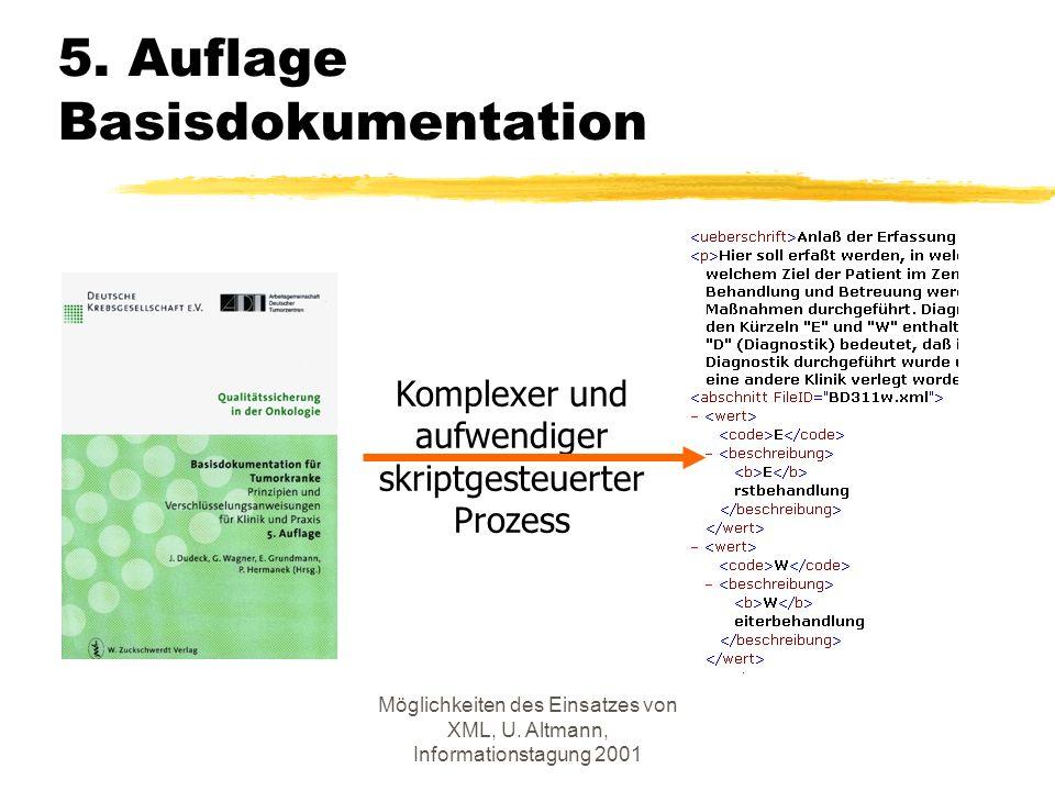 Möglichkeiten des Einsatzes von XML, U. Altmann, Informationstagung 2001 5.