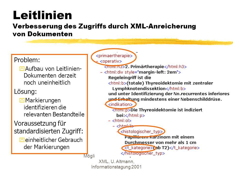 Möglichkeiten des Einsatzes von XML, U.