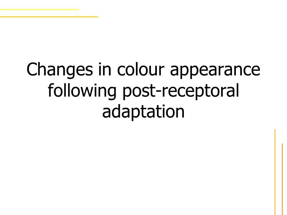 Ausgangspunkt Farbe ist repräsentiert durch drei unabhängige post-rezeptorielle Kanäle Krauskopf: 1 achromatische Achse für Beleuchtung 2 beleuchtungsäquivalente chromatische Achsen –Signale von short-wave-Zapfen (S) –Signale von long- und medium-wave- Zapfen (L-M)