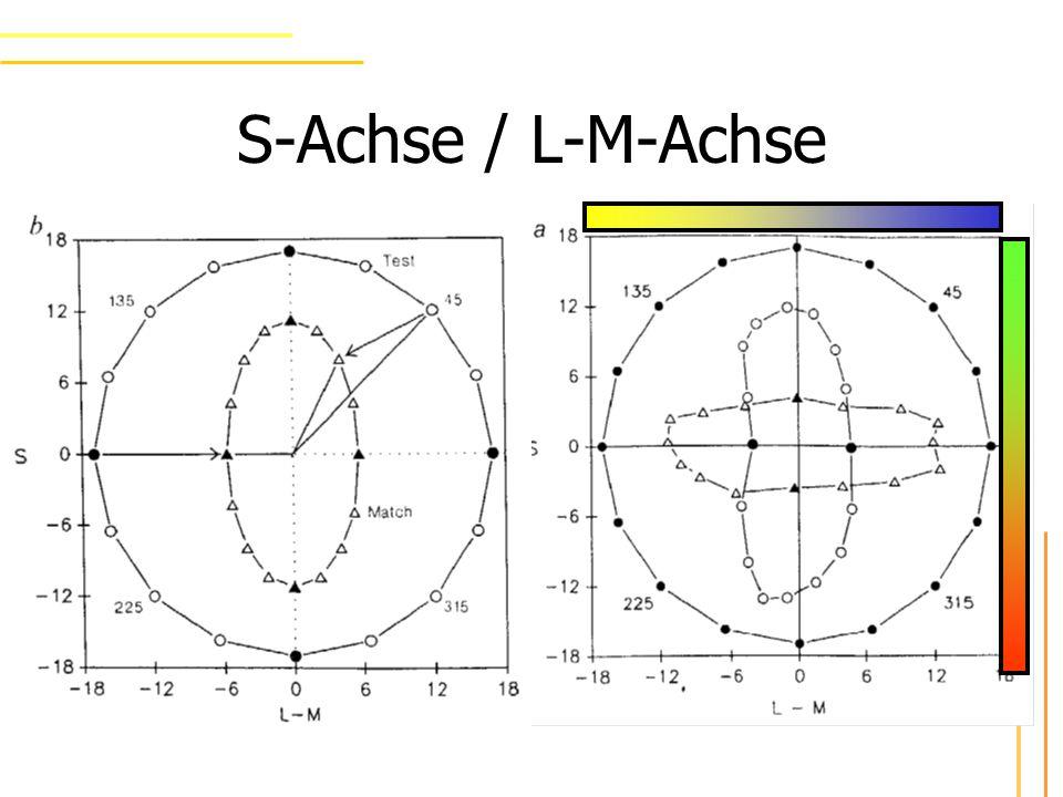 S-Achse / L-M-Achse größte Veränderung entlang der Adaptationsrichtung Geringste Veränderung 90° weg Wurde vorhergesagt