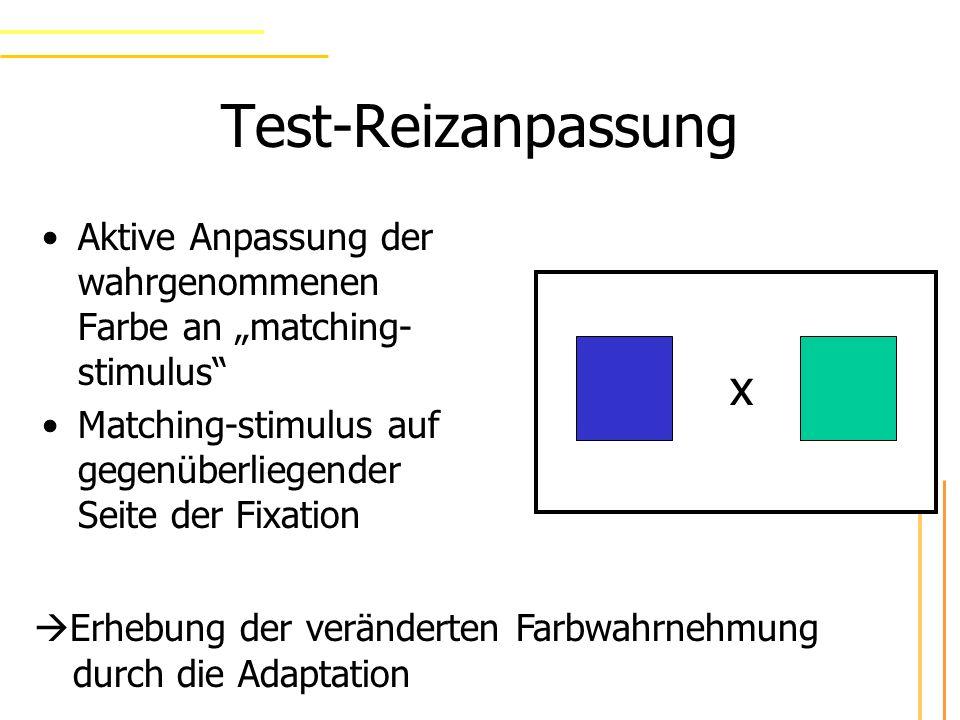 Test-Reizanpassung Aktive Anpassung der wahrgenommenen Farbe an matching- stimulus Matching-stimulus auf gegenüberliegender Seite der Fixation x Erhebung der veränderten Farbwahrnehmung durch die Adaptation
