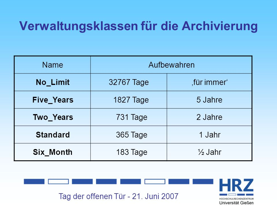 Tag der offenen Tür - 21. Juni 2007 Verwaltungsklassen für die Archivierung NameAufbewahren No_Limit32767 Tagefür immer Five_Years 1827 Tage5 Jahre Tw
