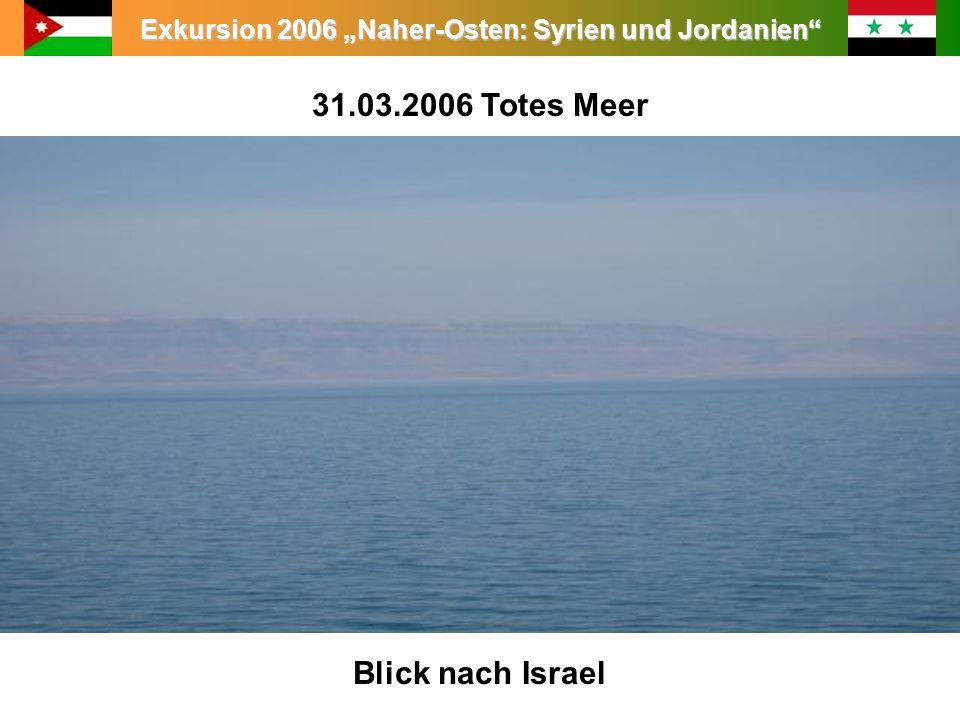 Exkursion 2006 Naher-Osten: Syrien und Jordanien 31.03.2006 Totes Meer Blick nach Israel