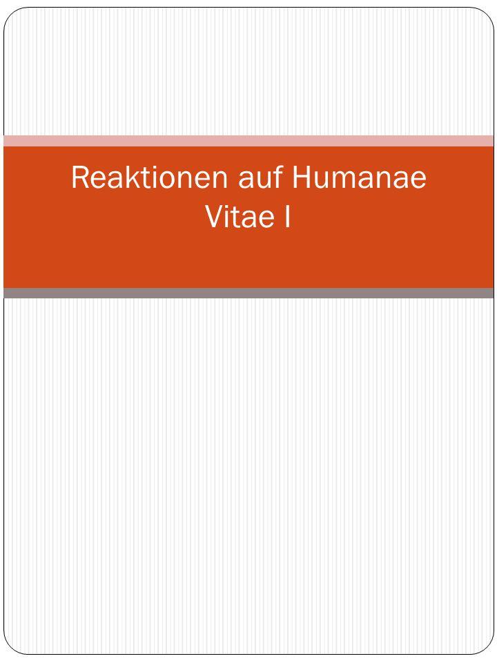 Reaktionen auf Humanae Vitae I