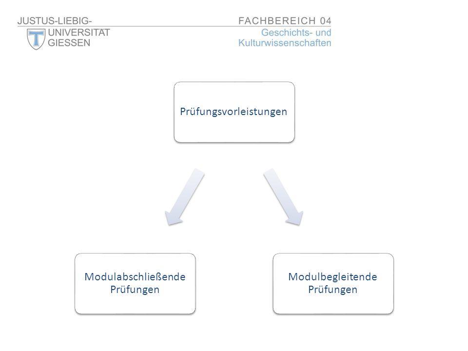 Prüfungsvorleistungen Modulbegleitende Prüfungen Modulabschließende Prüfungen
