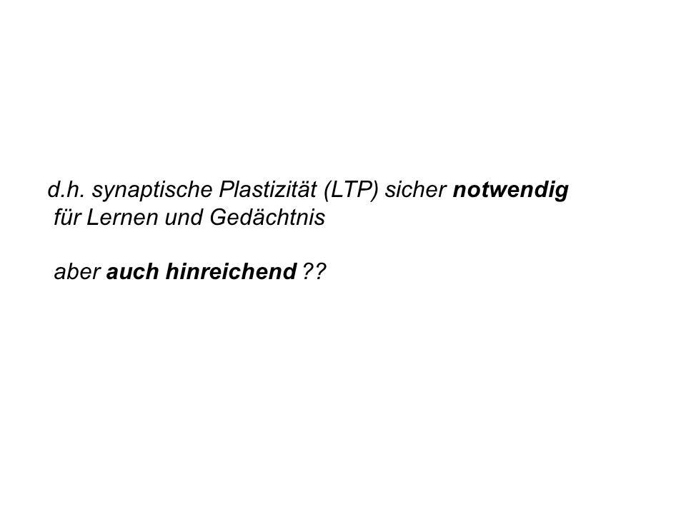 d.h. synaptische Plastizität (LTP) sicher notwendig für Lernen und Gedächtnis aber auch hinreichend ??