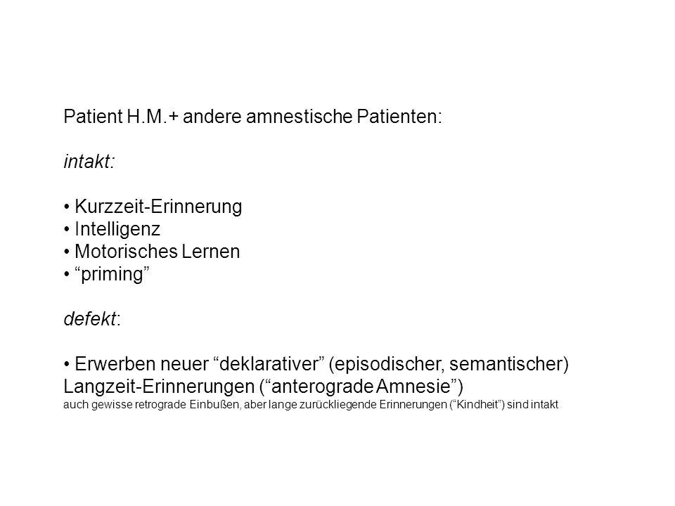Patient H.M.+ andere amnestische Patienten: intakt: Kurzzeit-Erinnerung Intelligenz Motorisches Lernen priming defekt: Erwerben neuer deklarativer (episodischer, semantischer) Langzeit-Erinnerungen (anterograde Amnesie) auch gewisse retrograde Einbußen, aber lange zurückliegende Erinnerungen (Kindheit) sind intakt
