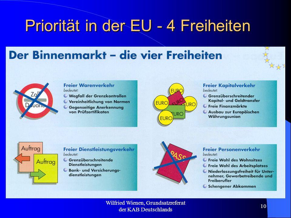 Wilfried Wienen, Grundsatzreferat der KAB Deutschlands 10 Priorität in der EU - 4 Freiheiten