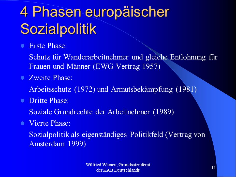 Wilfried Wienen, Grundsatzreferat der KAB Deutschlands 11 4 Phasen europäischer Sozialpolitik Erste Phase: Schutz für Wanderarbeitnehmer und gleiche E