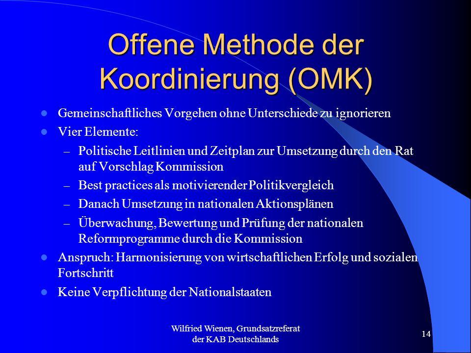 Wilfried Wienen, Grundsatzreferat der KAB Deutschlands 14 Offene Methode der Koordinierung (OMK) Gemeinschaftliches Vorgehen ohne Unterschiede zu igno
