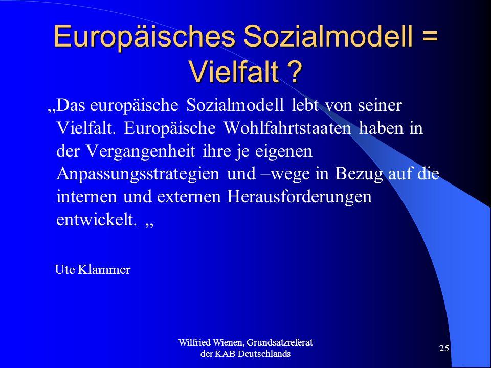 Wilfried Wienen, Grundsatzreferat der KAB Deutschlands 25 Europäisches Sozialmodell = Vielfalt ? Das europäische Sozialmodell lebt von seiner Vielfalt