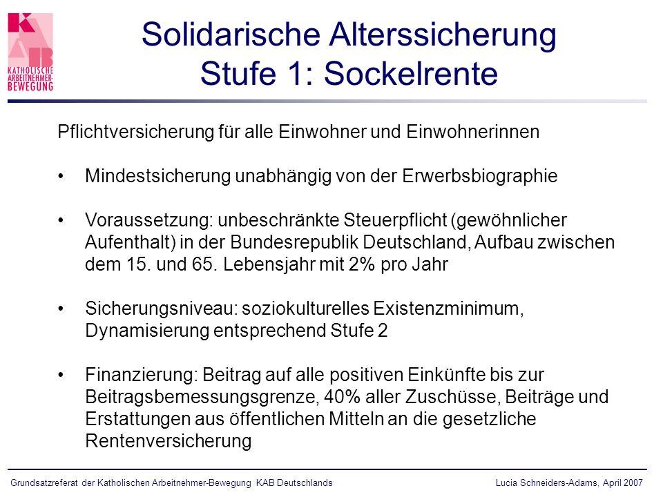 Lucia Schneiders-Adams, April 2007Grundsatzreferat der Katholischen Arbeitnehmer-Bewegung KAB Deutschlands Pflichtversicherung für alle Einwohner und