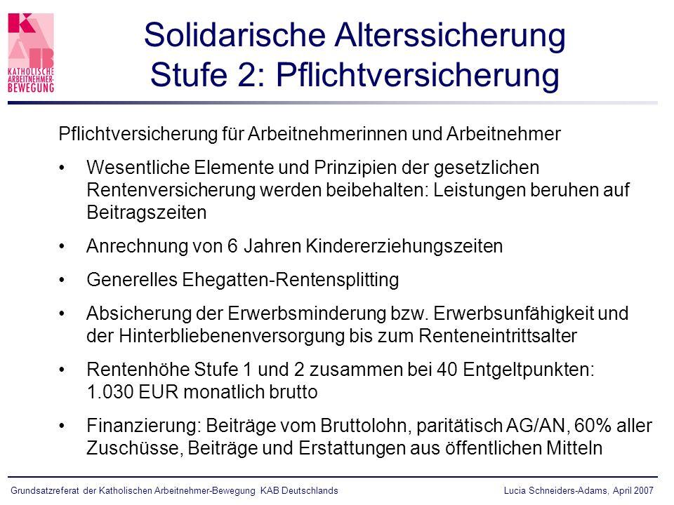 Lucia Schneiders-Adams, April 2007Grundsatzreferat der Katholischen Arbeitnehmer-Bewegung KAB Deutschlands Pflichtversicherung für Arbeitnehmerinnen u