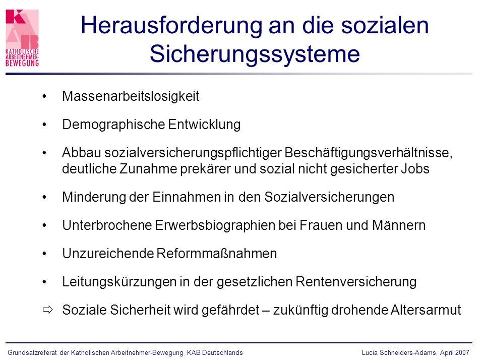 Grundsatzreferat der Katholischen Arbeitnehmer-Bewegung KAB Deutschlands Massenarbeitslosigkeit Demographische Entwicklung Abbau sozialversicherungspf