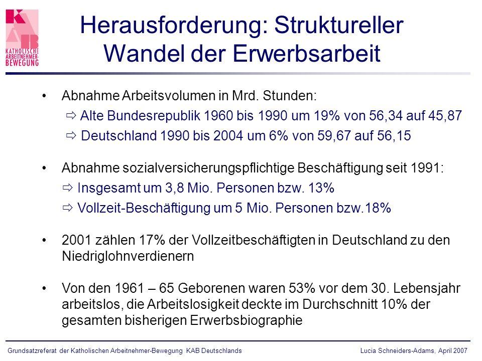 Lucia Schneiders-Adams, April 2007Grundsatzreferat der Katholischen Arbeitnehmer-Bewegung KAB Deutschlands Herausforderung: Struktureller Wandel der Erwerbsarbeit Abnahme Arbeitsvolumen in Mrd.
