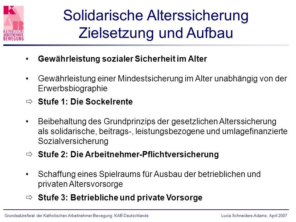Lucia Schneiders-Adams, April 2007Grundsatzreferat der Katholischen Arbeitnehmer-Bewegung KAB Deutschlands Gewährleistung sozialer Sicherheit im Alter