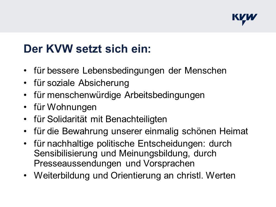 Der KVW setzt sich ein: für bessere Lebensbedingungen der Menschen für soziale Absicherung für menschenwürdige Arbeitsbedingungen für Wohnungen für So