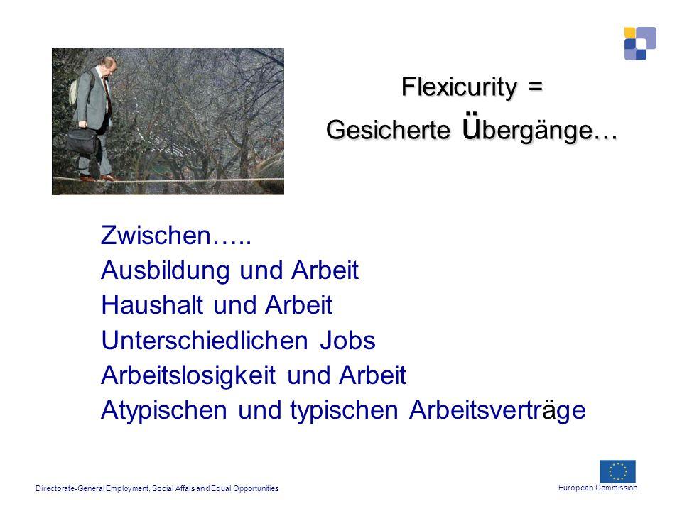 Flexicurity = Gesicherte ü bergnge… Flexicurity = Gesicherte ü bergänge… Zwischen….. Ausbildung und Arbeit Haushalt und Arbeit Unterschiedlichen Jobs