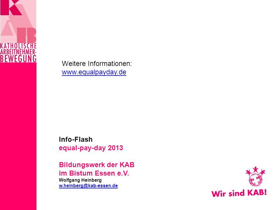 Info-Flash equal-pay-day 2013 Bildungswerk der KAB im Bistum Essen e.V.