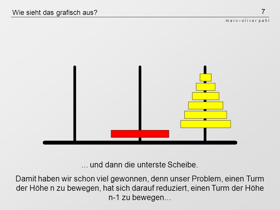 7 m a r c – o l i v e r p a h l Wie sieht das grafisch aus?... und dann die unterste Scheibe. Damit haben wir schon viel gewonnen, denn unser Problem,