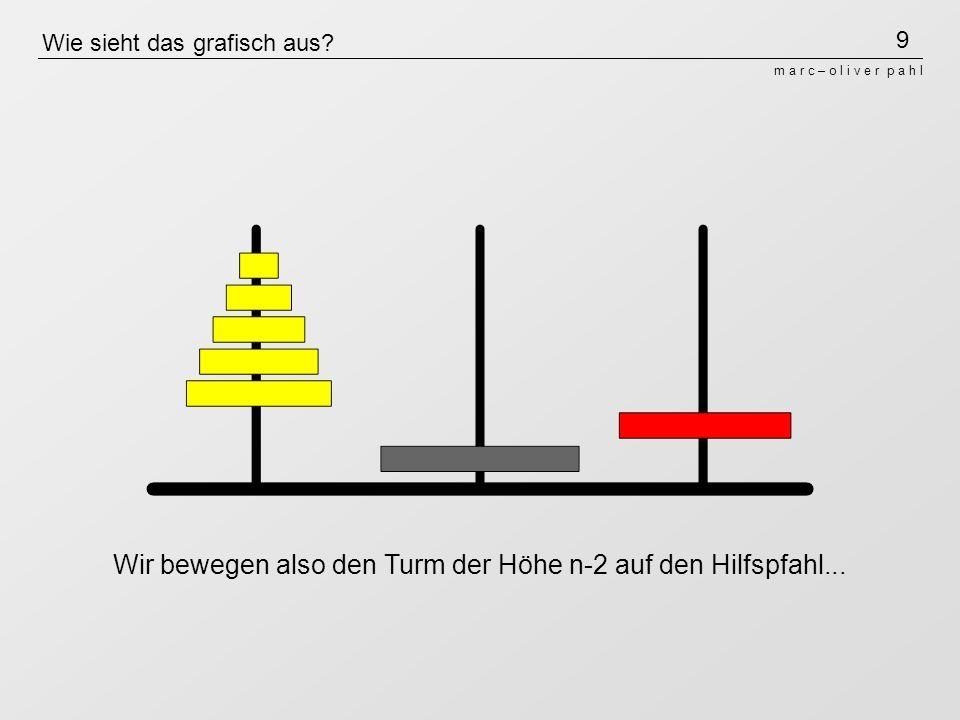 9 m a r c – o l i v e r p a h l Wie sieht das grafisch aus? Wir bewegen also den Turm der Höhe n-2 auf den Hilfspfahl...