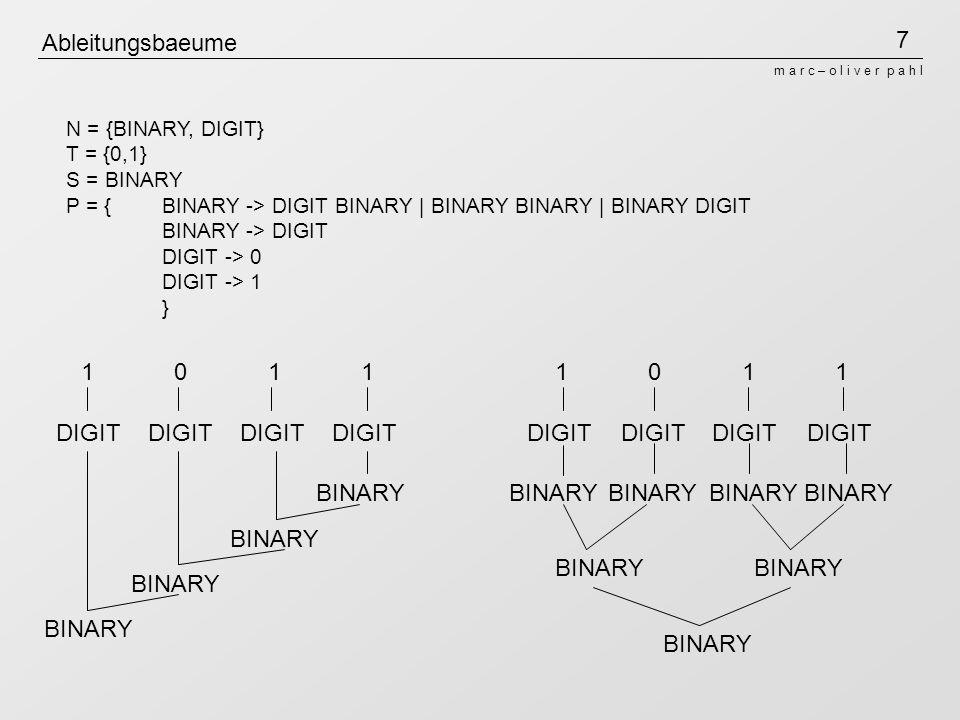 7 m a r c – o l i v e r p a h l Ableitungsbaeume N = {BINARY, DIGIT} T = {0,1} S = BINARY P = {BINARY -> DIGIT BINARY | BINARY BINARY | BINARY DIGIT BINARY -> DIGIT DIGIT -> 0 DIGIT -> 1 } 1 0 1 1 DIGIT BINARY DIGIT BINARY