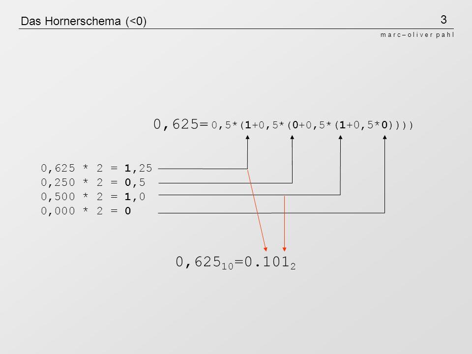 3 m a r c – o l i v e r p a h l Das Hornerschema (<0) 0,625 * 2 = 1,25 0,250 * 2 = 0,5 0,500 * 2 = 1,0 0,000 * 2 = 0 0,625 10 =0.101 2 0,5*(1+0,5*(0+0