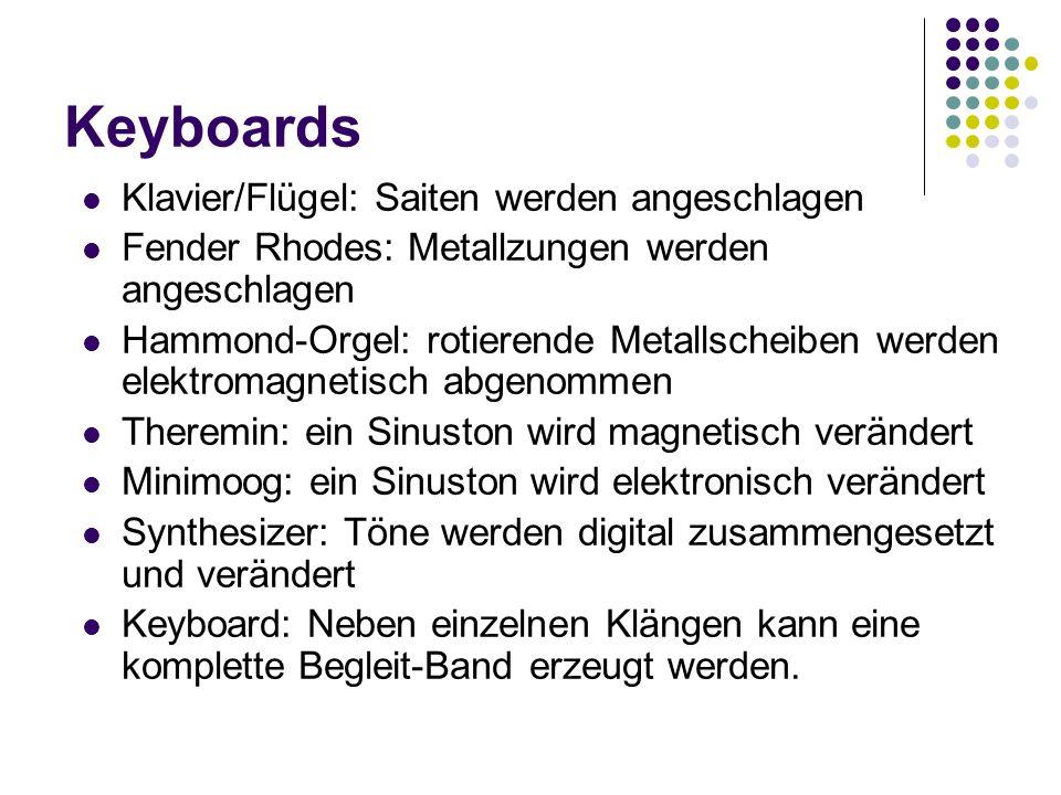 Keyboards Klavier/Flügel: Saiten werden angeschlagen Fender Rhodes: Metallzungen werden angeschlagen Hammond-Orgel: rotierende Metallscheiben werden e