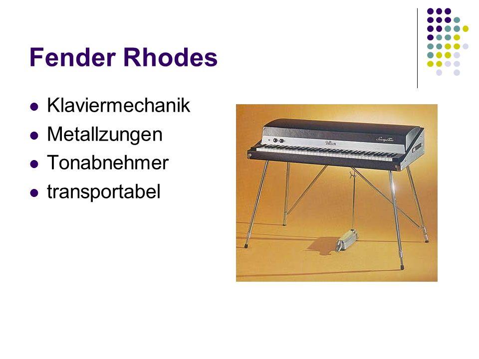 Fender Rhodes Klaviermechanik Metallzungen Tonabnehmer transportabel